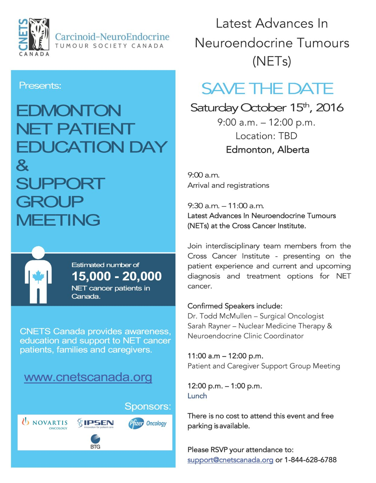 Edmonton Patient Education Day & Support Group Meeting @ TBD - Downton Edmonton